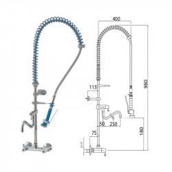 Grifo ducha 2 aguas pared + caño